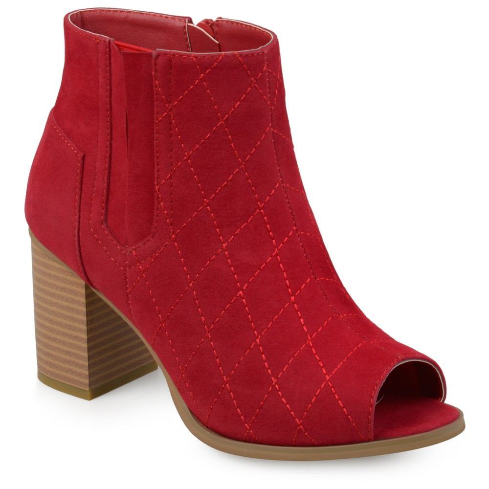 Womens Journee Collection Quilted Open Toe Booties - Red 5.5