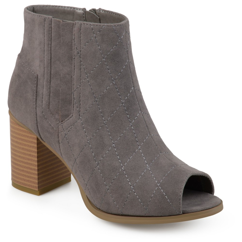 Womens Journee Collection Quilted Open Toe Booties - Gray 8.5