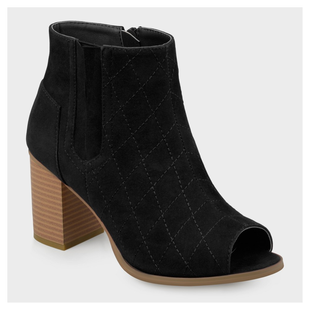 Womens Journee Collection Quilted Open Toe Booties - Black 8.5