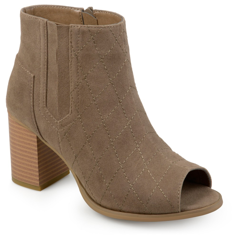 Womens Journee Collection Quilted Open Toe Booties - Taupe (Brown) 8