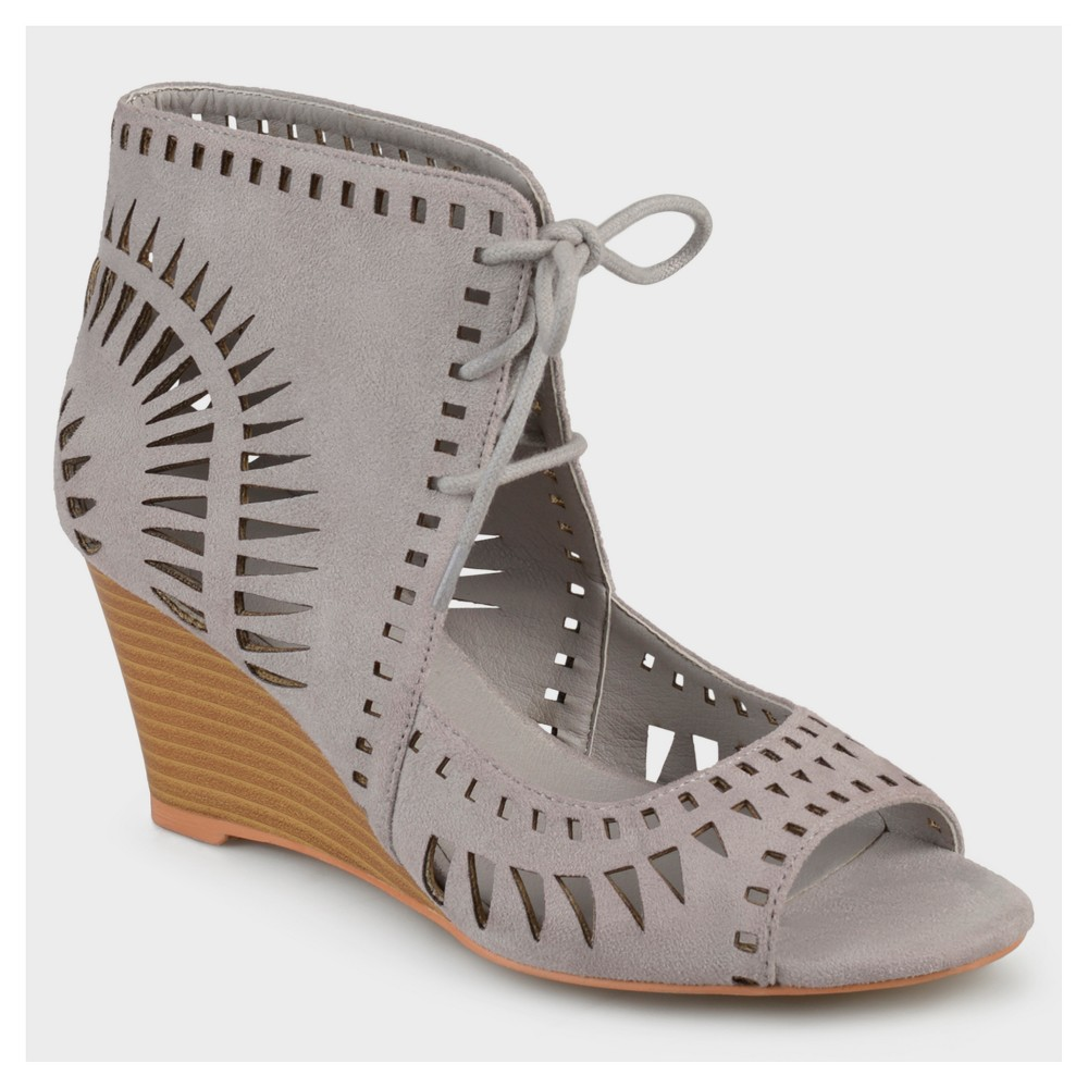 Womens Journee Collection Lace-up Laser Cut Wedges - Gray 7.5