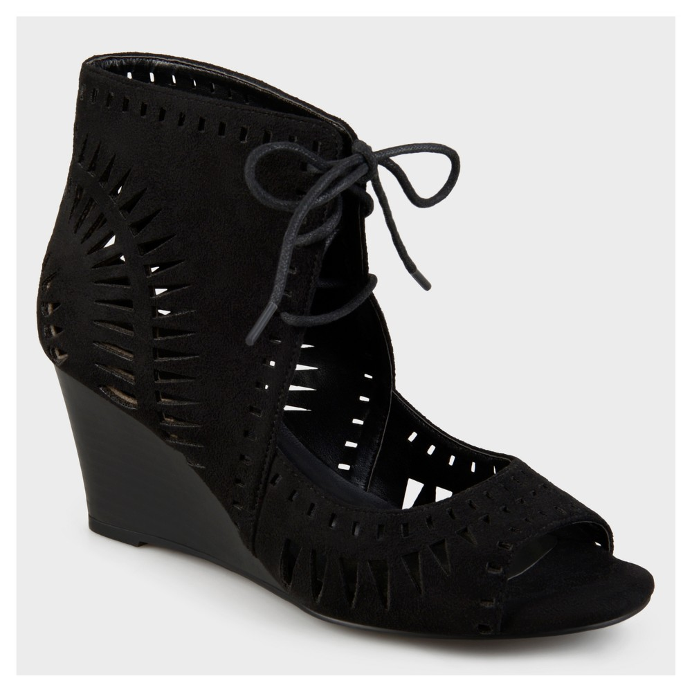 Womens Journee Collection Lace-up Laser Cut Wedges - Black 5.5
