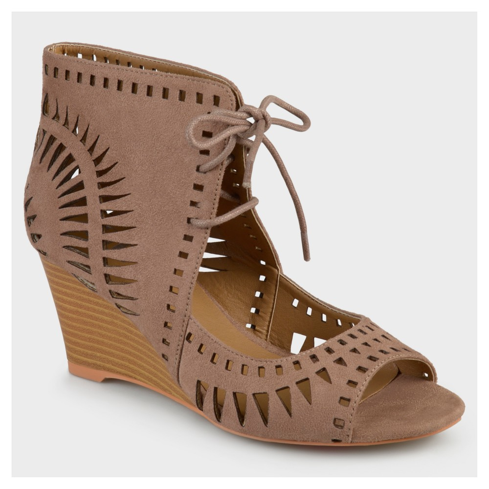 Womens Journee Collection Lace-up Laser Cut Wedges - Taupe (Brown) 7
