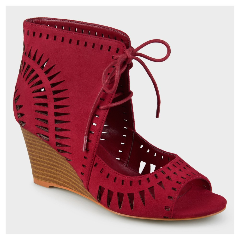 Womens Journee Collection Lace-up Laser Cut Wedges - Red 11