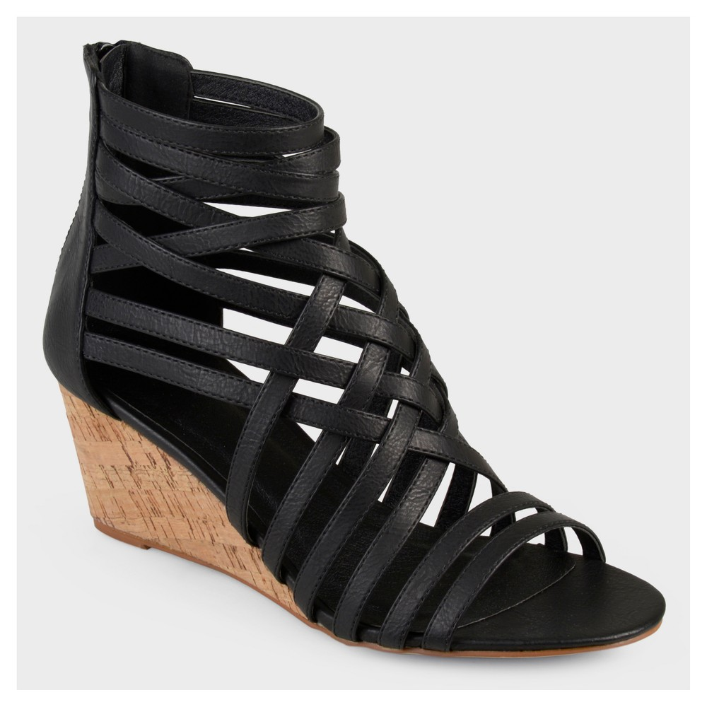 Womens Journee Collection Strappy Faux Leather Wedges - Black 7.5