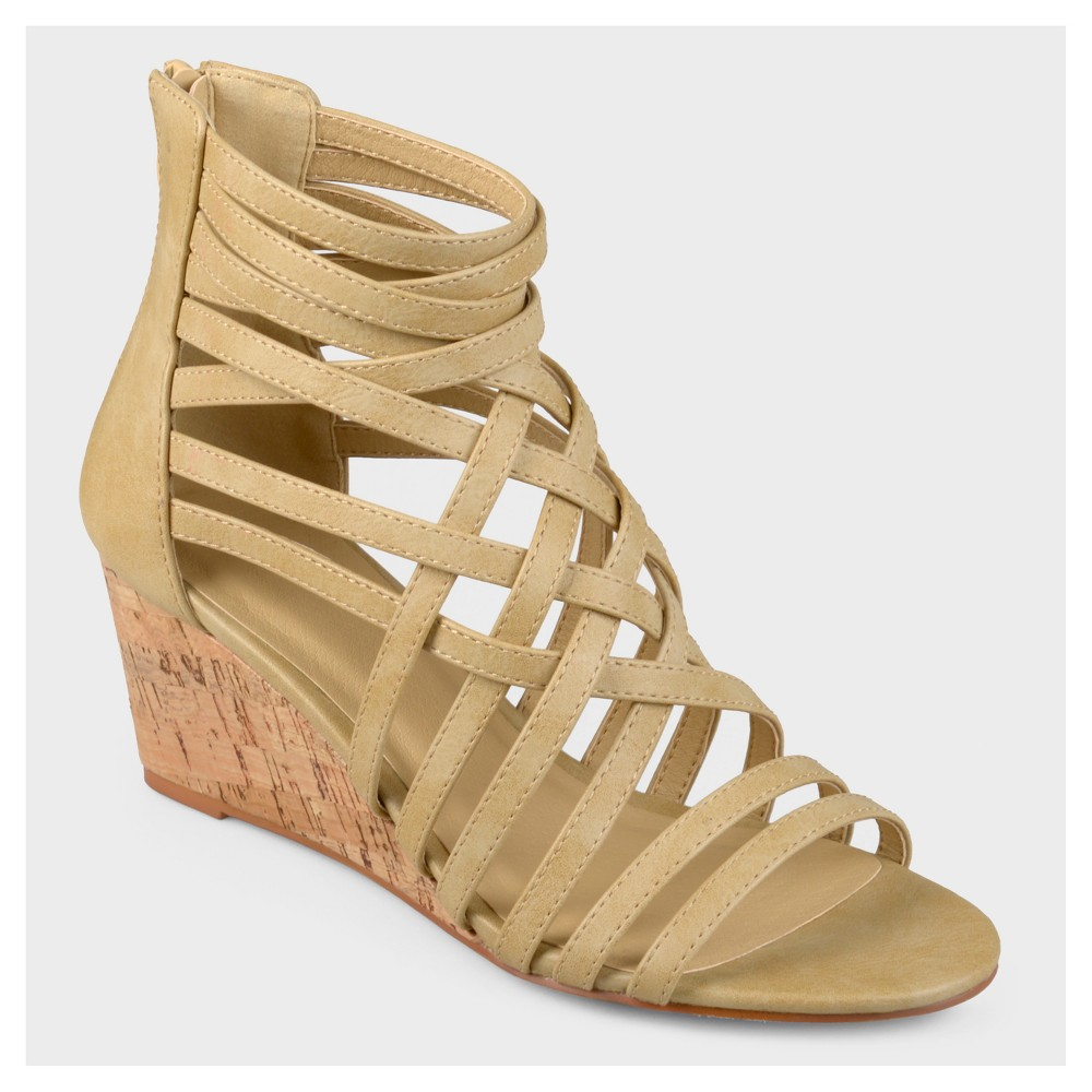 Womens Journee Collection Strappy Faux Leather Wedges - Taupe (Brown) 8