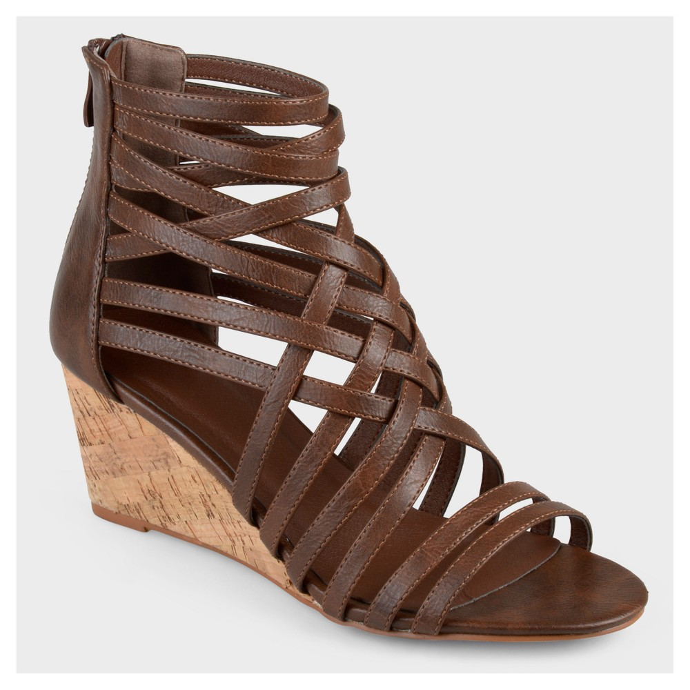 Womens Journee Collection Strappy Faux Leather Wedges - Brown 6.5