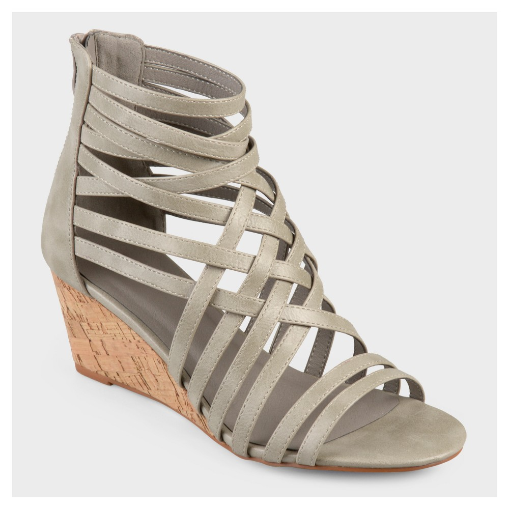 Womens Journee Collection Strappy Faux Leather Wedges - Gray 10
