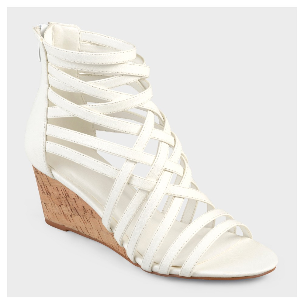 Womens Journee Collection Strappy Faux Leather Wedges - White 5.5