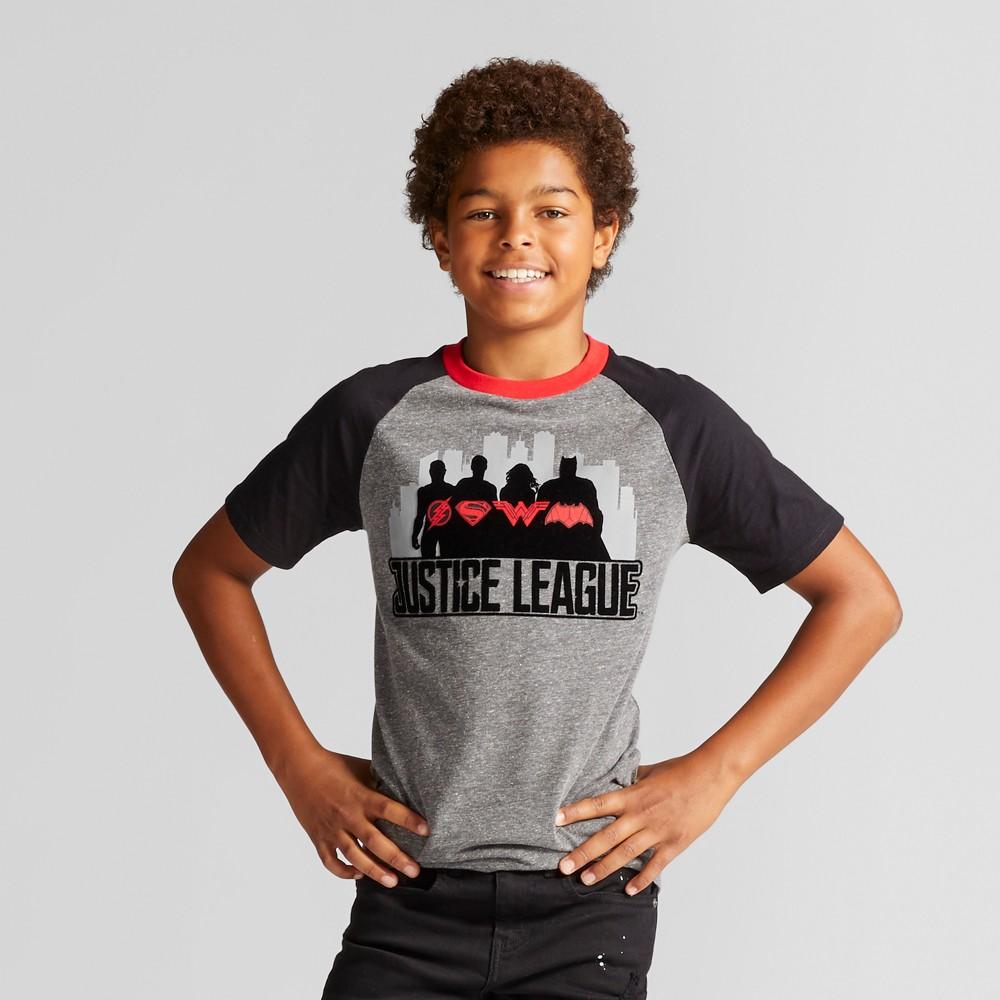 Boys DC Comics Justice League T-Shirt - Charcoal Heather XL, Gray