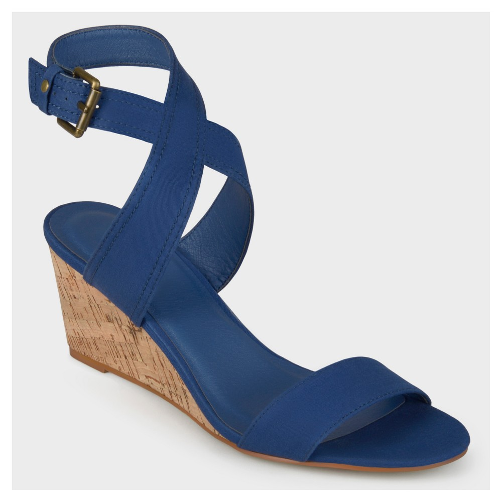 Womens Journee Collection Canvas Ankle Strap Wedges - Blue 11