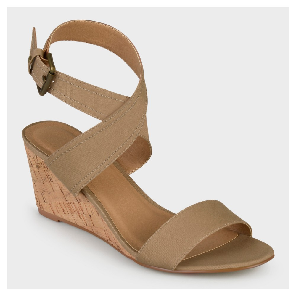 Womens Journee Collection Canvas Ankle Strap Wedges - Nude 12