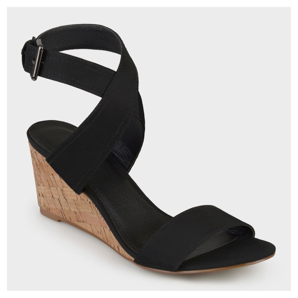 Womens Journee Collection Canvas Ankle Strap Wedges - Black 5.5