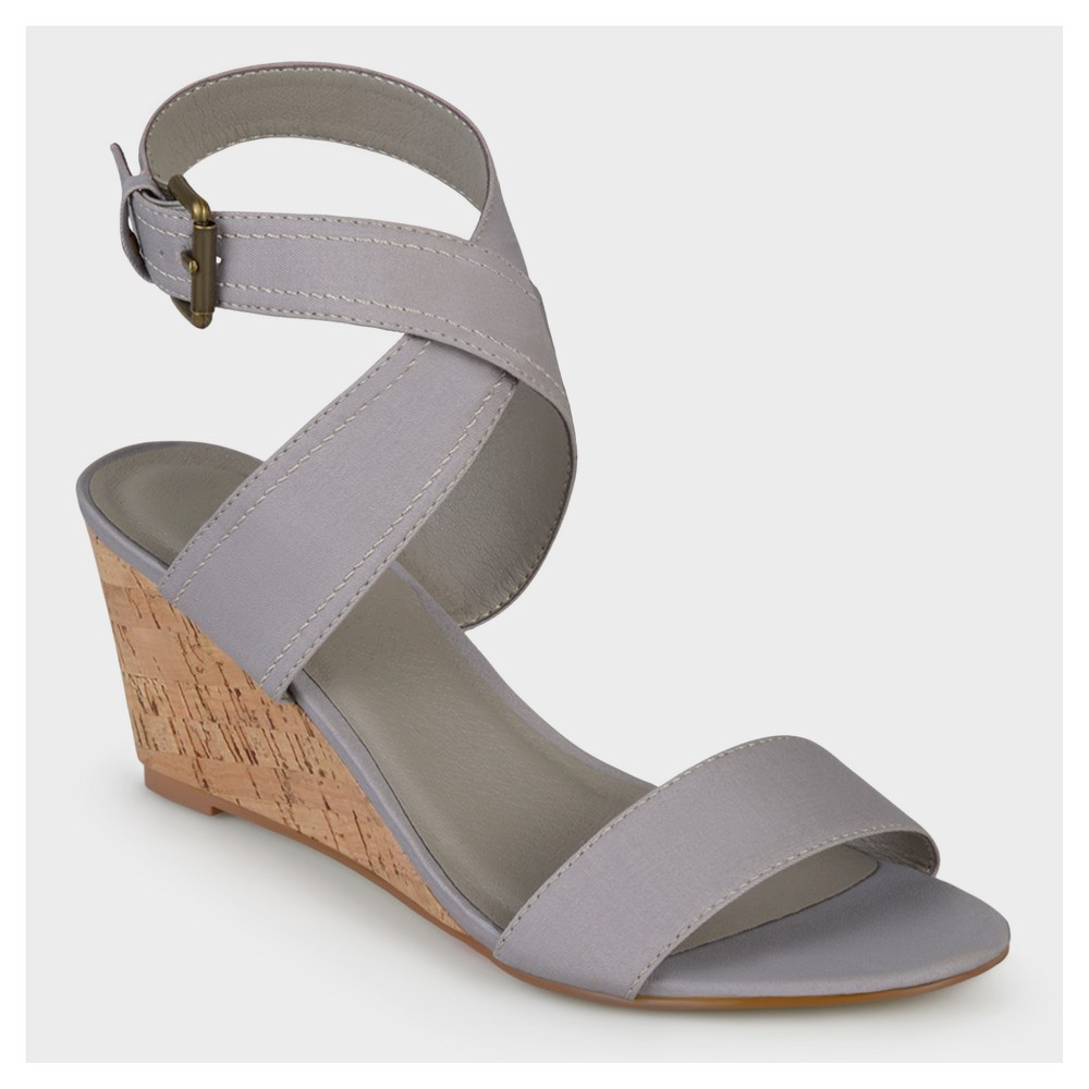 Womens Journee Collection Canvas Ankle Strap Wedges - Gray 8.5