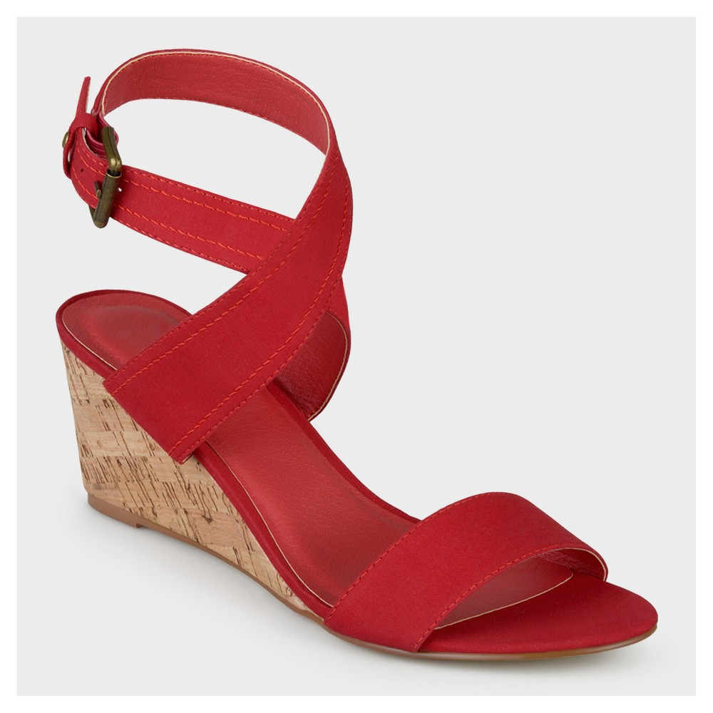 Womens Journee Collection Womens Canvas Ankle Strap Wedges - Red 9