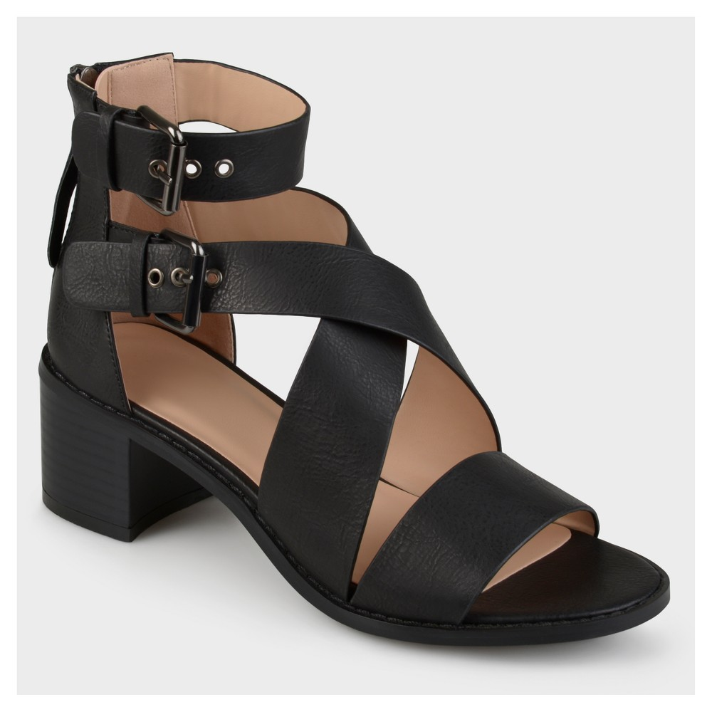 Womens Journee Collection Double Ankle Strap Stacked Wood Heel Sandals - Black 6, Size: 6.5