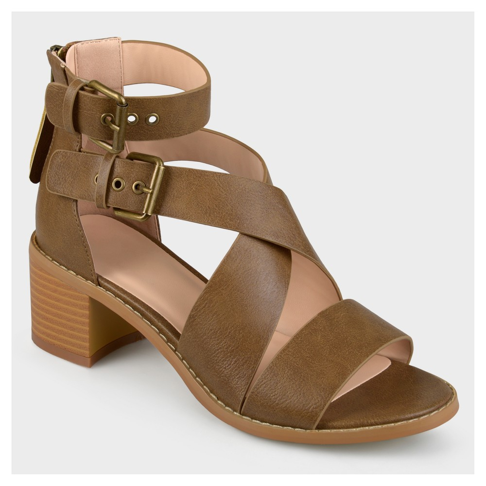 Womens Journee Collection Double Ankle Strap Stacked Wood Heel Sandals - Brown 12