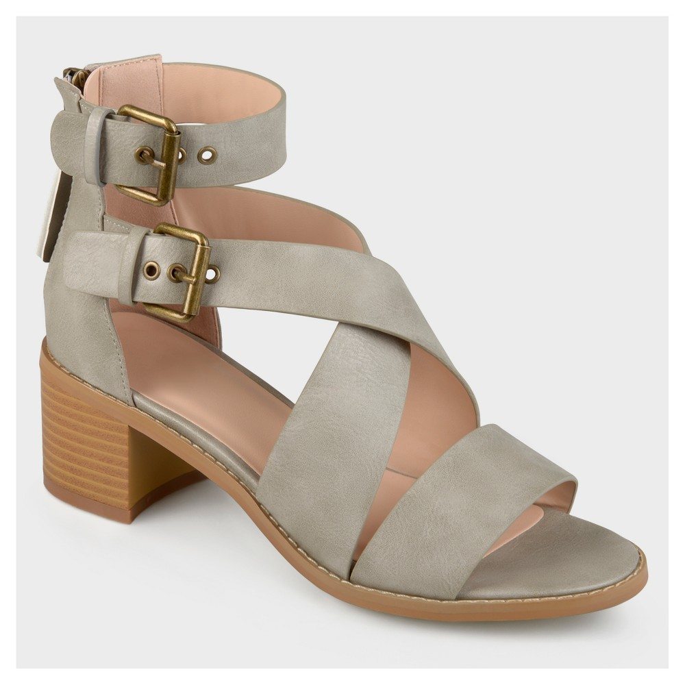 Womens Journee Collection Double Ankle Strap Stacked Wood Heel Sandals - Gray 7.5