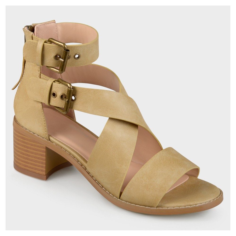 Womens Journee Collection Double Ankle Strap Stacked Wood Heel Sandals - Taupe (Brown) 5.5