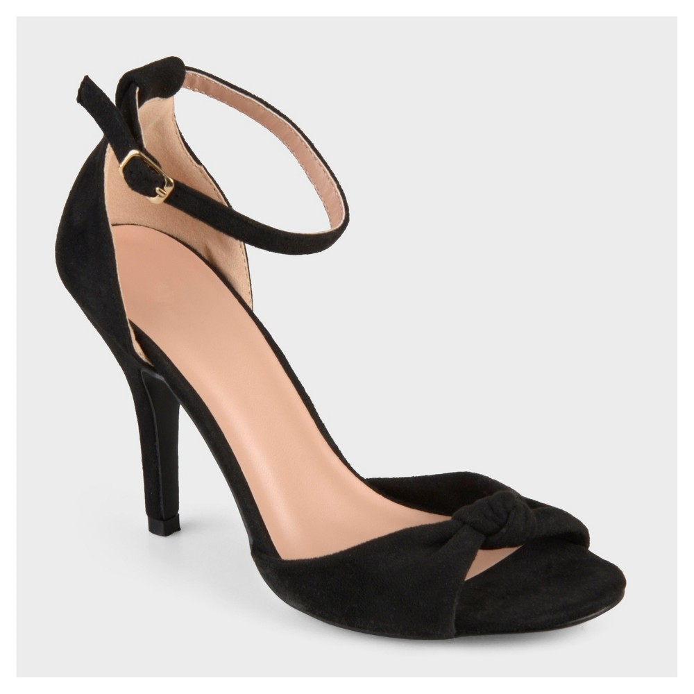 Womens Journee Collection Ankle Strap Knot High Heels - Black 6.5