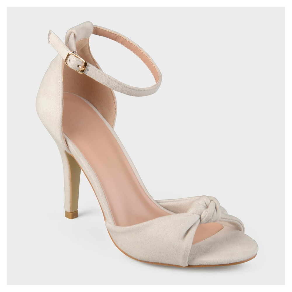 Womens Journee Collection Ankle Strap Knot High Heels - Bone (Ivory) 11