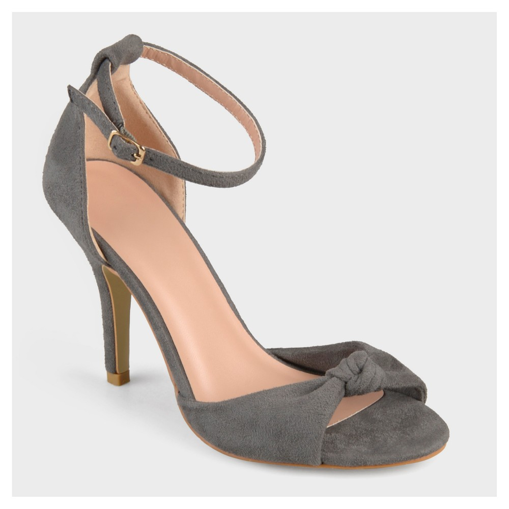 Womens Journee Collection Ankle Strap Knot High Heels - Gray 5.5