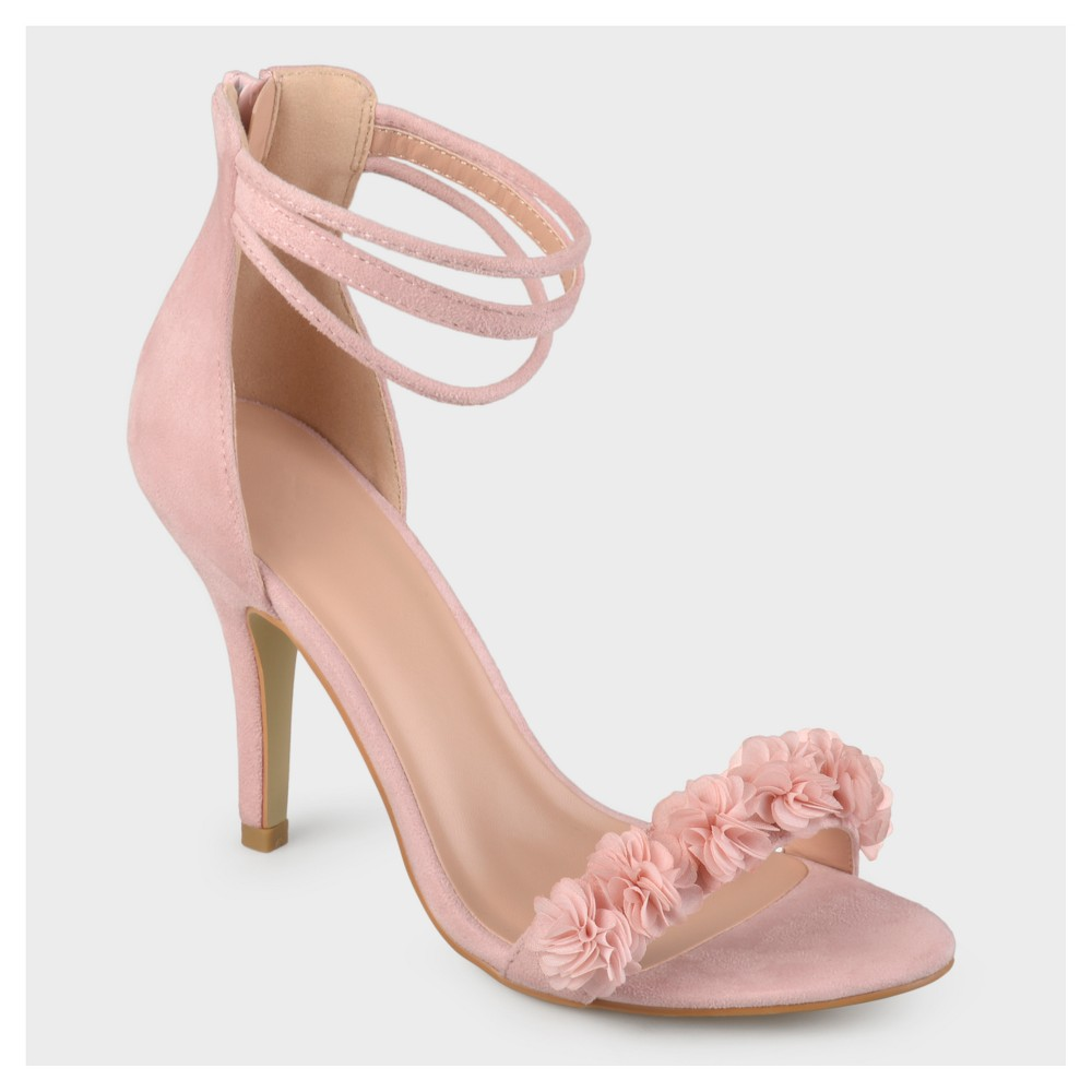 Womens Journee Collection Ankle Strap Flower High Heels - Pink 6.5
