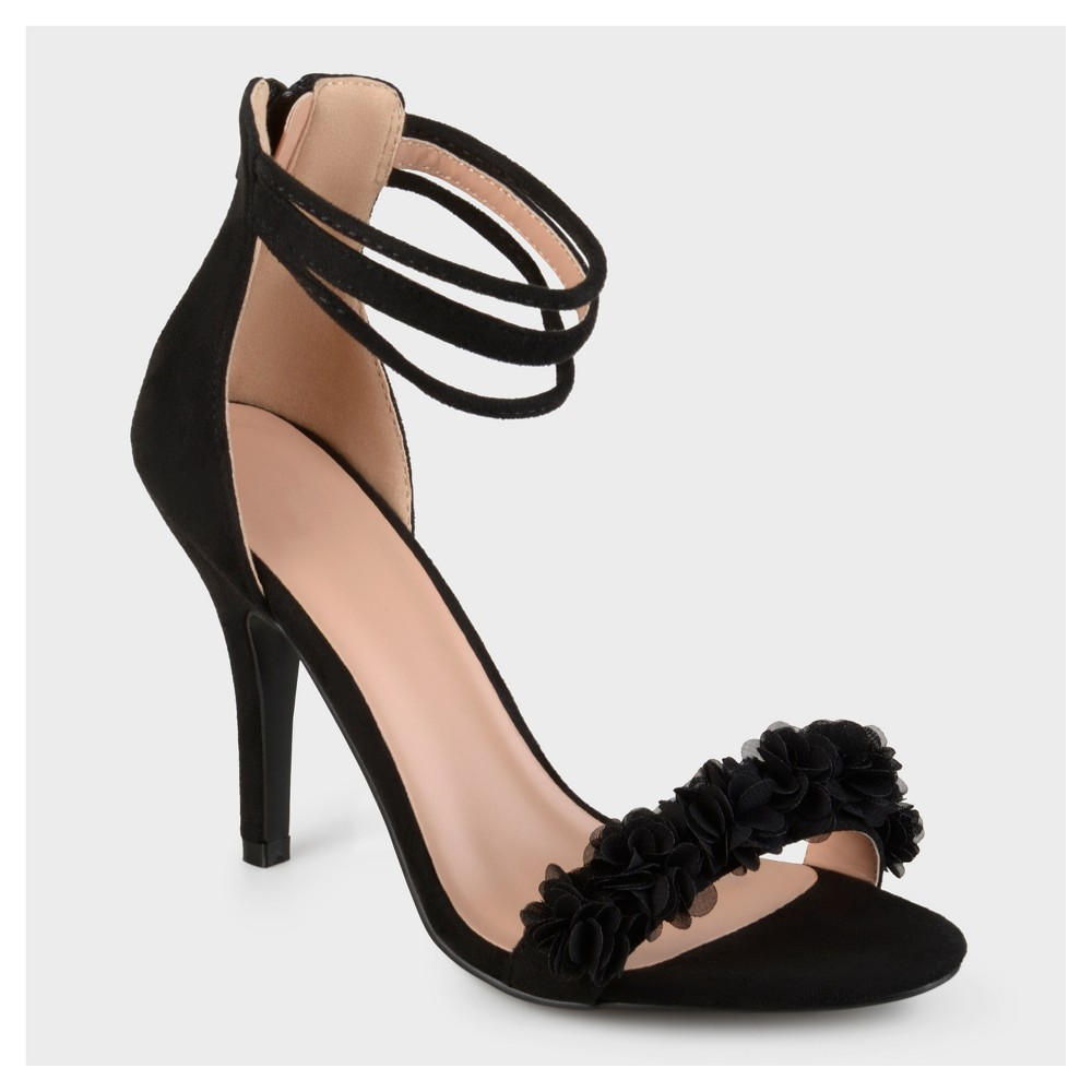 Womens Journee Collection Ankle Strap Flower High Heels - Black 6.5