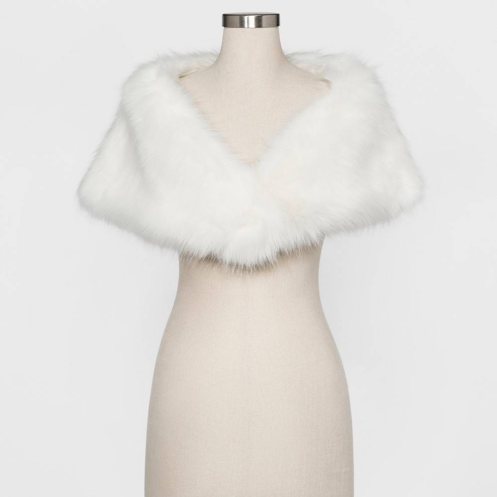 Womens Faux fur shrug with satin lining - Estee & Lilly Ivory S/M, White