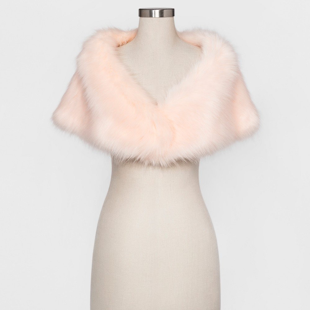 Womens Faux fur shrug with satin lining - Estee & Lilly Blush L/XL, Pink
