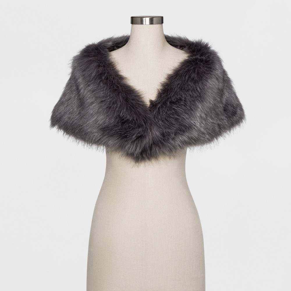 Womens Faux fur shrug with satin lining - Estee & Lilly Tan S/M, Beige