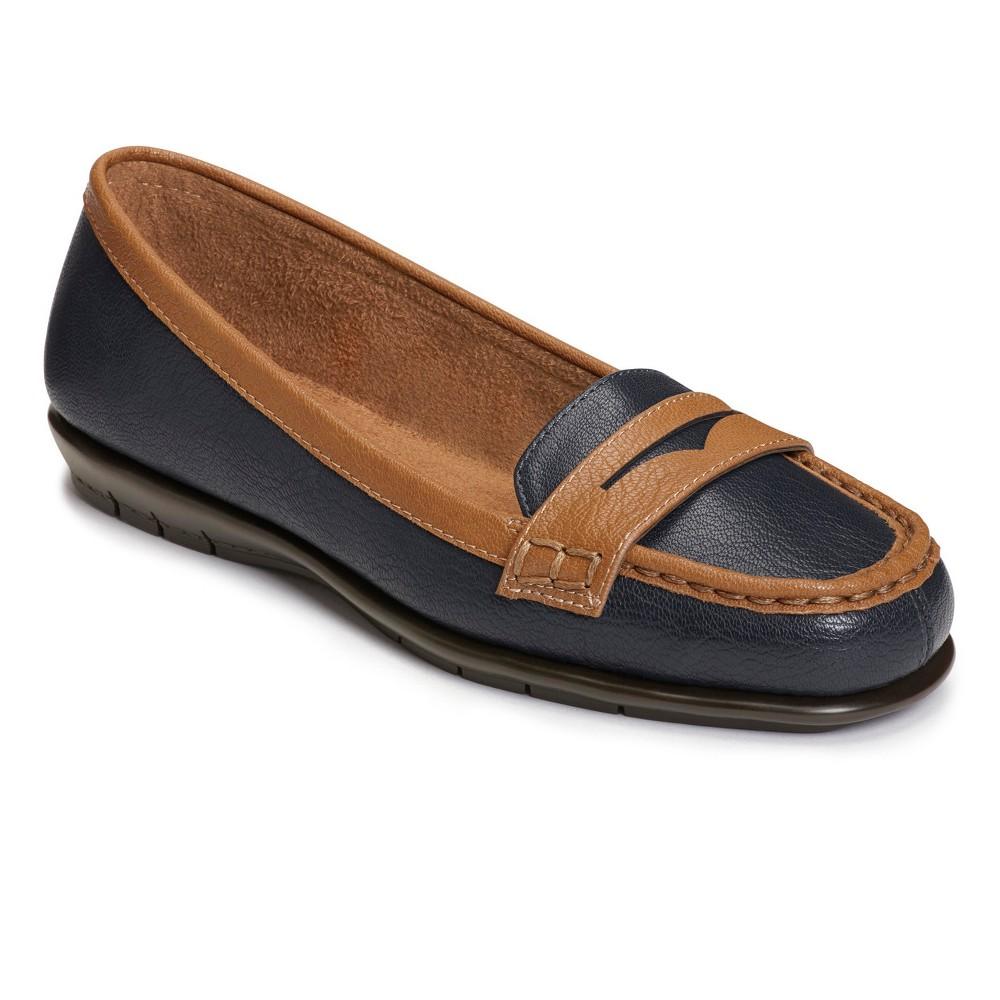 Womens A2 by Aerosoles Sandbar Loafers - Navy (Blue) 8