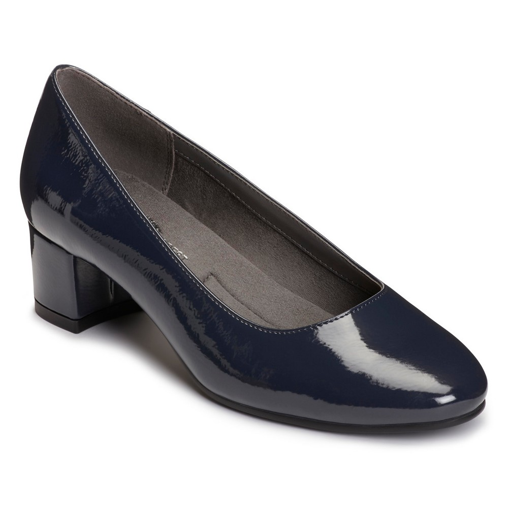 Womens A2 by Aerosoles Notepad Patent Pumps - Navy (Blue) 6.5