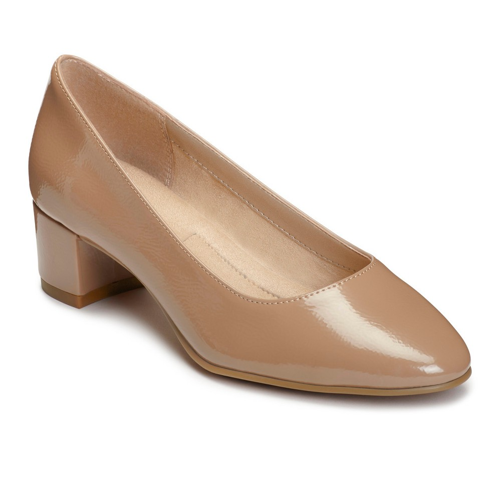 Womens A2 by Aerosoles Notepad Patent Pumps - Nude 8.5