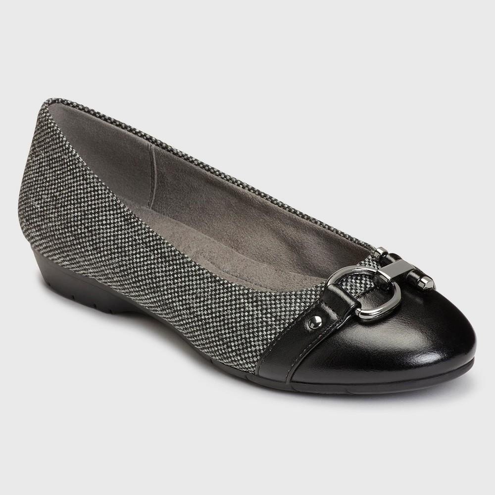 Womens A2 by Aerosoles Ultrabrite Plaid Ballet Flats - Black/White 5.5