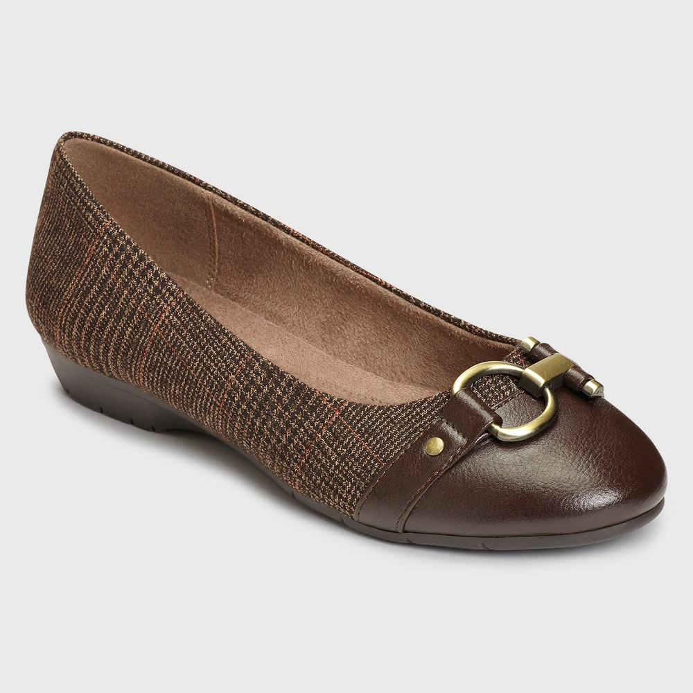 Womens A2 by Aerosoles Ultrabrite Plaid Wide Width Ballet Flats - Brown 11W, Size: 11 Wide