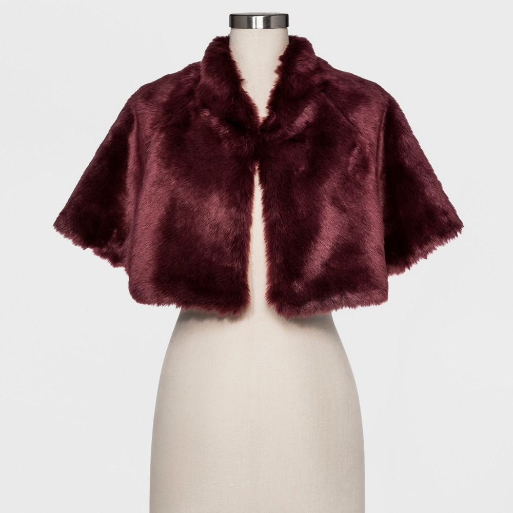 Womens Faux fur caplet with satin lining - Estee & Lilly Burgundy (Red)