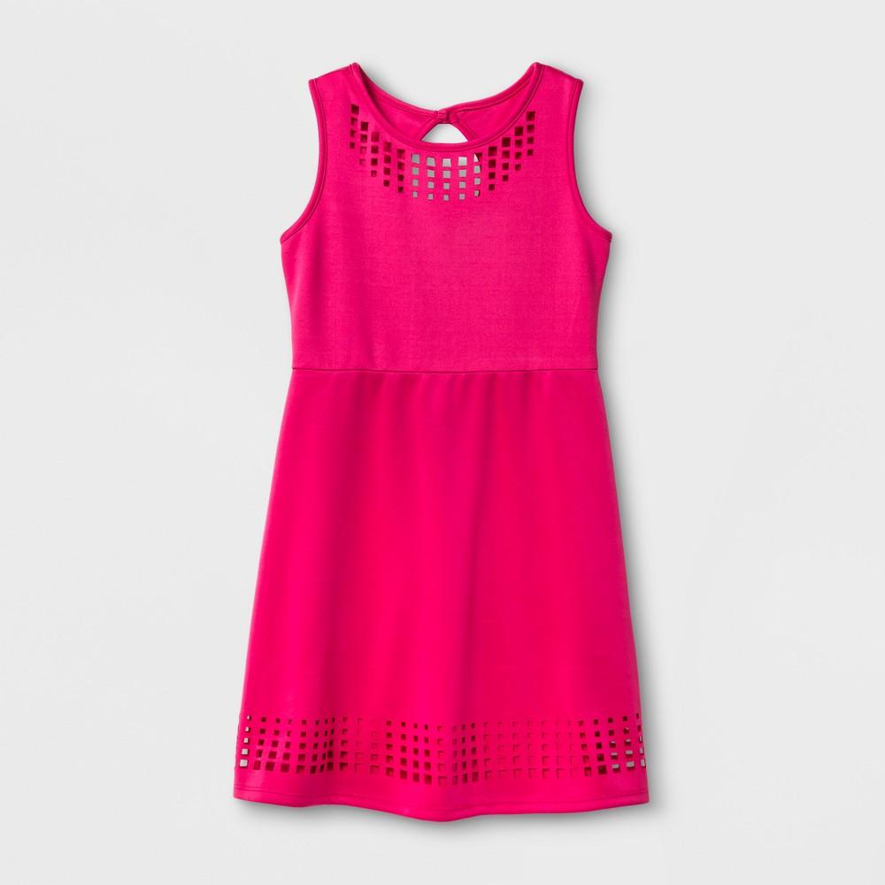 Girls Zenzi Sleeveless Techno Lazer Cut A Line Skater Dress - Fuchsia - 7, Pink