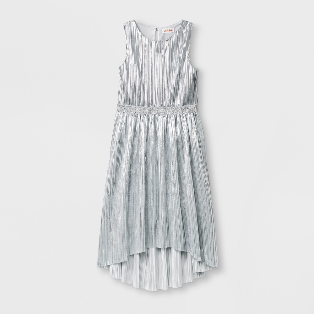 Girls Hi-Low Dress - Cat & Jack Silver XL
