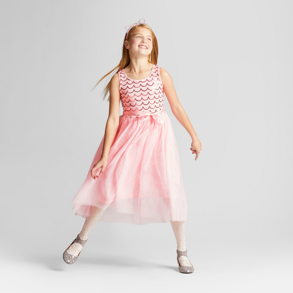 Girls Sequins Hi-Low Dress - Cat & Jack Pink Xxl
