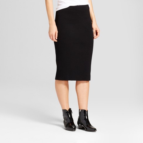 Women's Knit Midi Skirt - Who What Wear™ Black - image 1 of 3