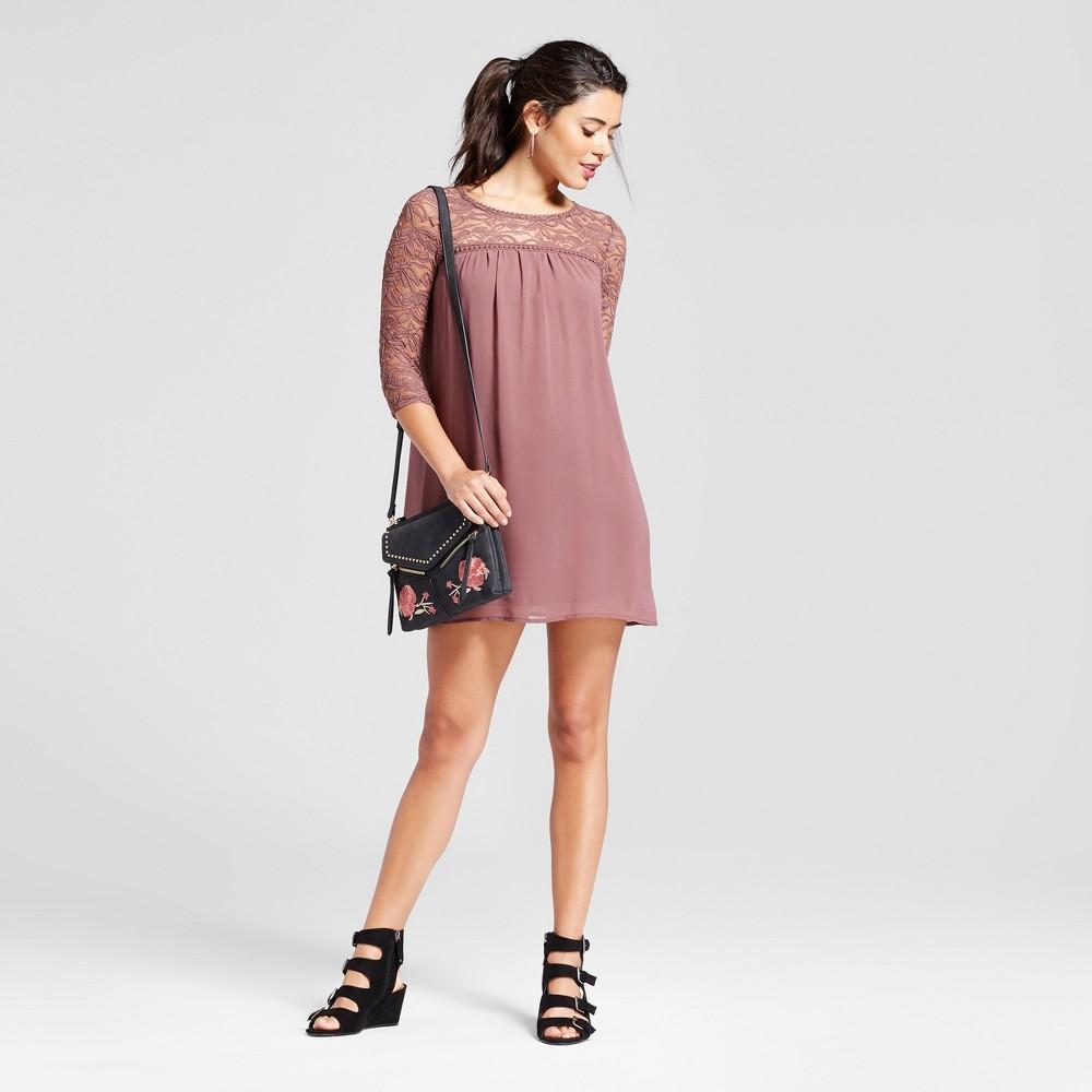 Womens Lace Yoke 3/4 Sleeve Dress - Lily Star (Juniors) Mauve S, Purple