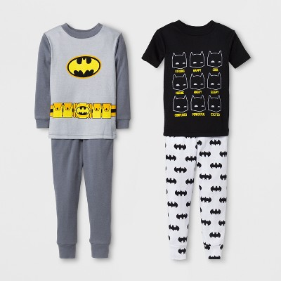 Toddler Boys' Batman 4pc Cotton Pajama Set - Black 2T