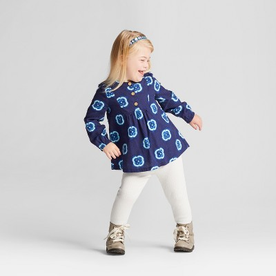 Toddler Girls' Shibori Dress And Rib Leggings - Genuine Kids™ from OshKosh® Nightfall Blue 12M
