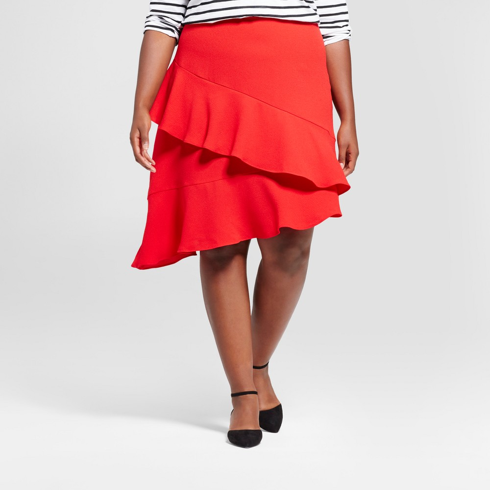 Womens Plus Size Asymmetrical Ruffle Skirt - A New Day Red 24W