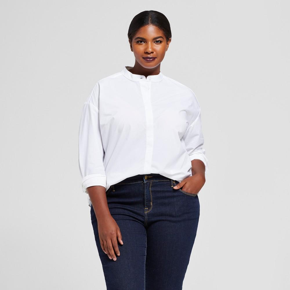 Womens Plus Size Mandarin Collar Shirt - A New Day White 3X