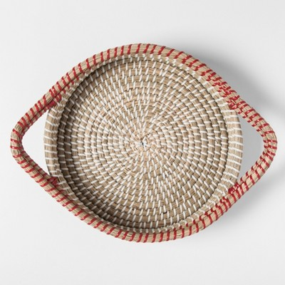 Round Natural Rattan Serving Tray with Handles 10in Orange - Threshold™