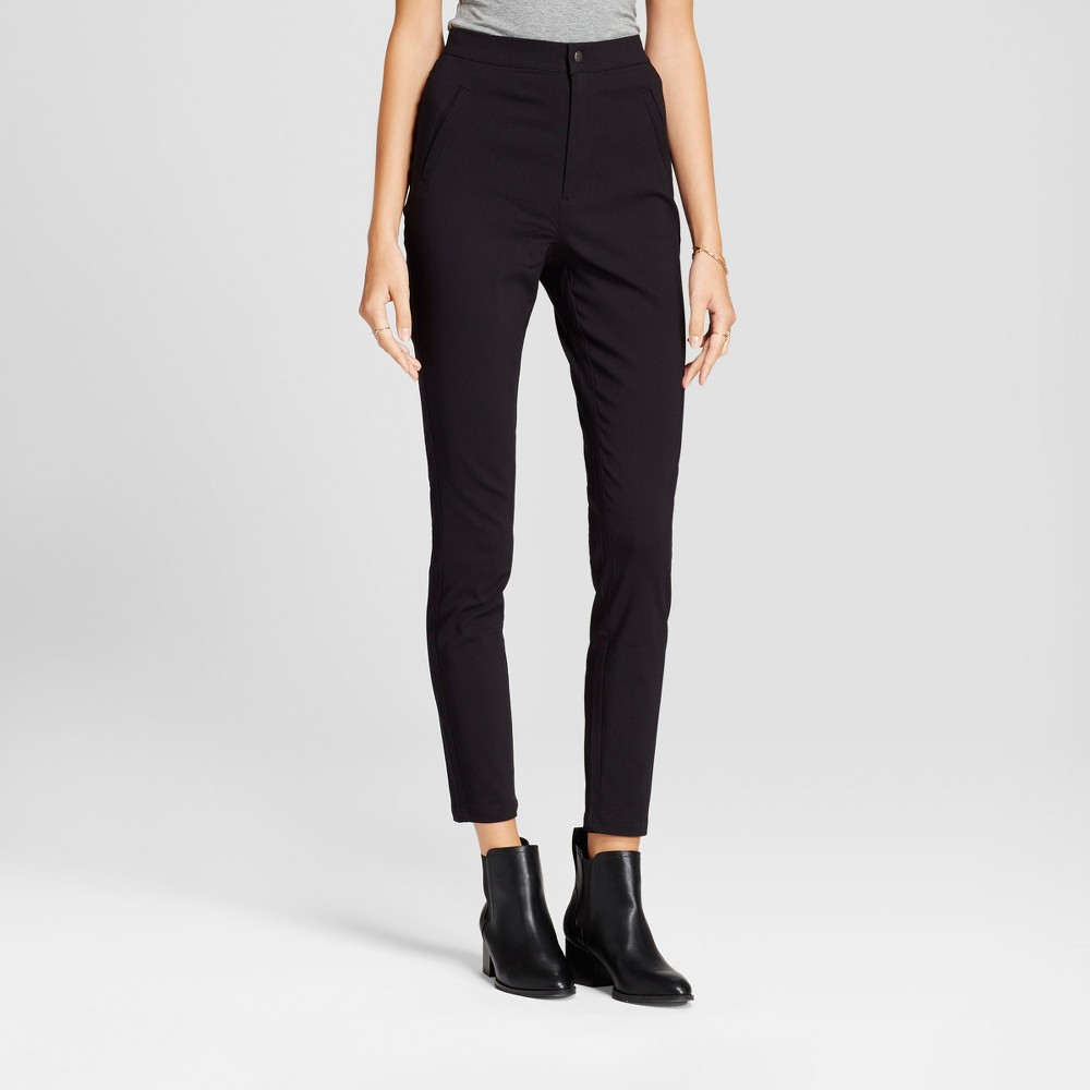 Womens Super Skinny High Waist Pants - A New Day Black 8