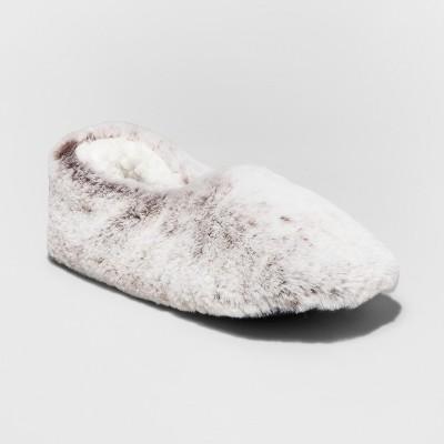 Women's Faux-Fur Slipper Socks - Xhilaration™ Natural L/XL