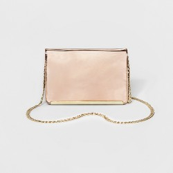 Women's Gold Clutch With Crossbody Chain - Mossimo™